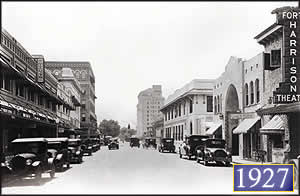 Looking up Fort Harrison Ave. in Clearwater, just after the completion of the Fort Harrison Hotel