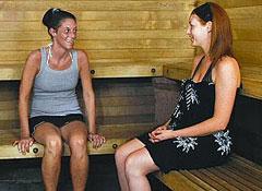 Estudiantes en el sauna