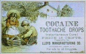 Anuncio de gotas de cocaina para el dolor de muelas, 1885