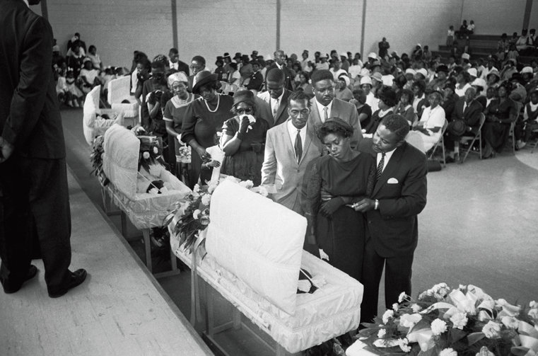 Annie Mae and James Richardson at the funeral service