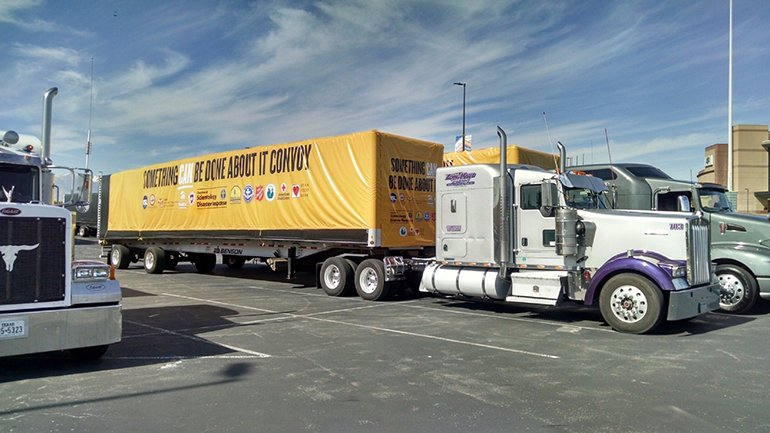 The convoy originated in Salt Lake City where trucks were loaded with supplies.
